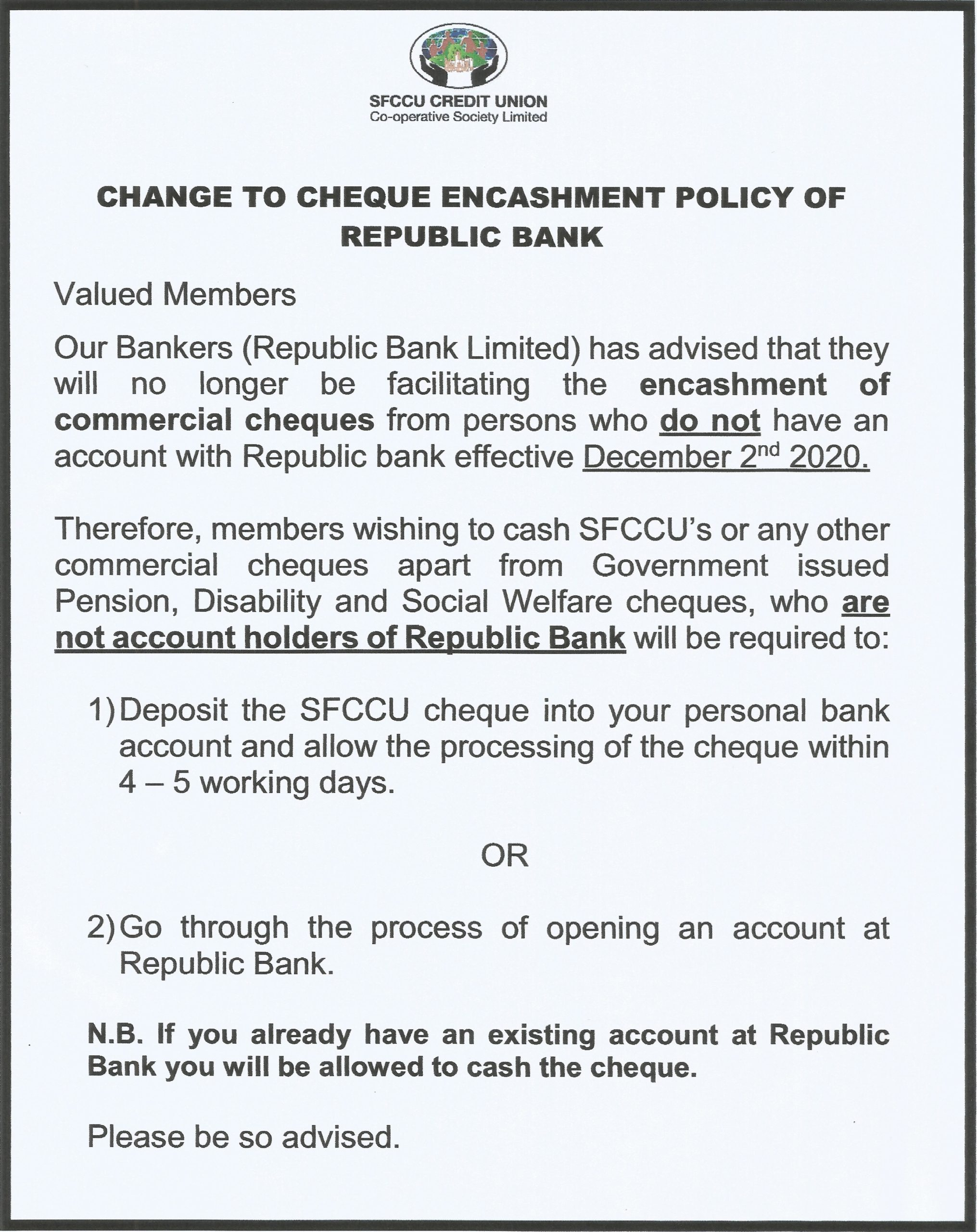 Notice - Change to Cheque Encashment Policy of Republic Bank